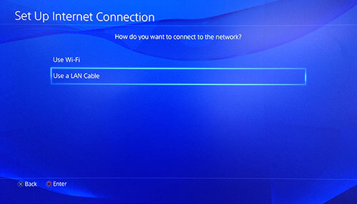 Set up Ethernet connection on PS4